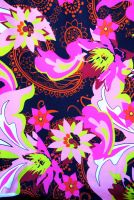 4 yds fabric - Bright Flowers and Swirls on Black Background