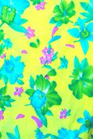 3 yds fabric - Flowers on Bright Yellow Background