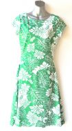 Ladies' Size M - Green and White Tropical Leaves