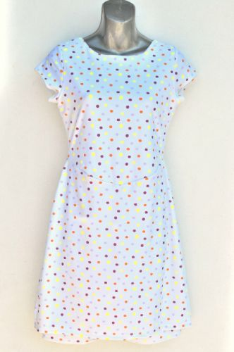 Youth Size 14 - ​ Multicolored Polka Dots on White