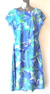 Ladies' Size XL - Tropical Blue Flowers
