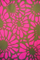 3.75 yds fabric - Bright Pink Flowers on Brown Background