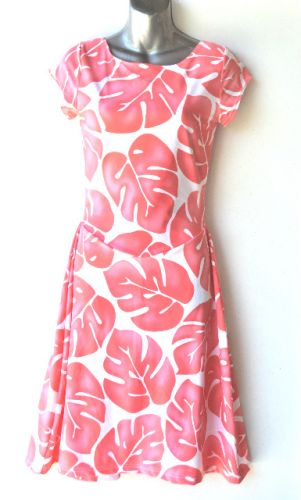 Ladies' Size S - Tropical Pink Leaves on White