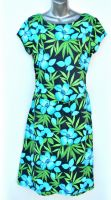 Ladies' Size XXL - Tropical Flowers and Leaves on Black