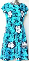 Youth Size 12 - Turquoise Hibiscus on Navy Blue