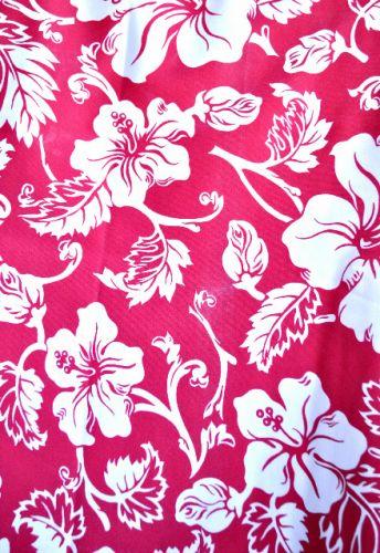 White Hibiscus on Raspberry Red