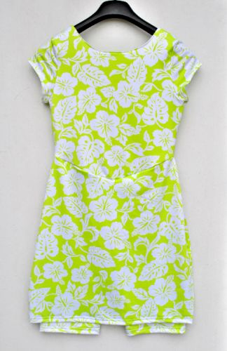 Youth Size 8 - White Hibiscus on Lime Green